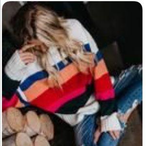 Vici Zelda Striped off white sweater